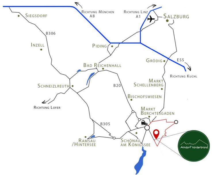 Übersichtskarte der Ortschaften um Berchtesgaden